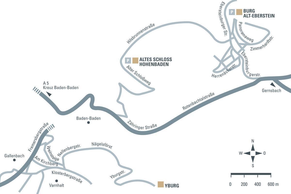 Anfahrtsskizze zu den drei Burgen um Baden-Baden; Entwurf: Staatliche Schlösser und Gärten Baden-Württemberg, JUNG:Kommunikation
