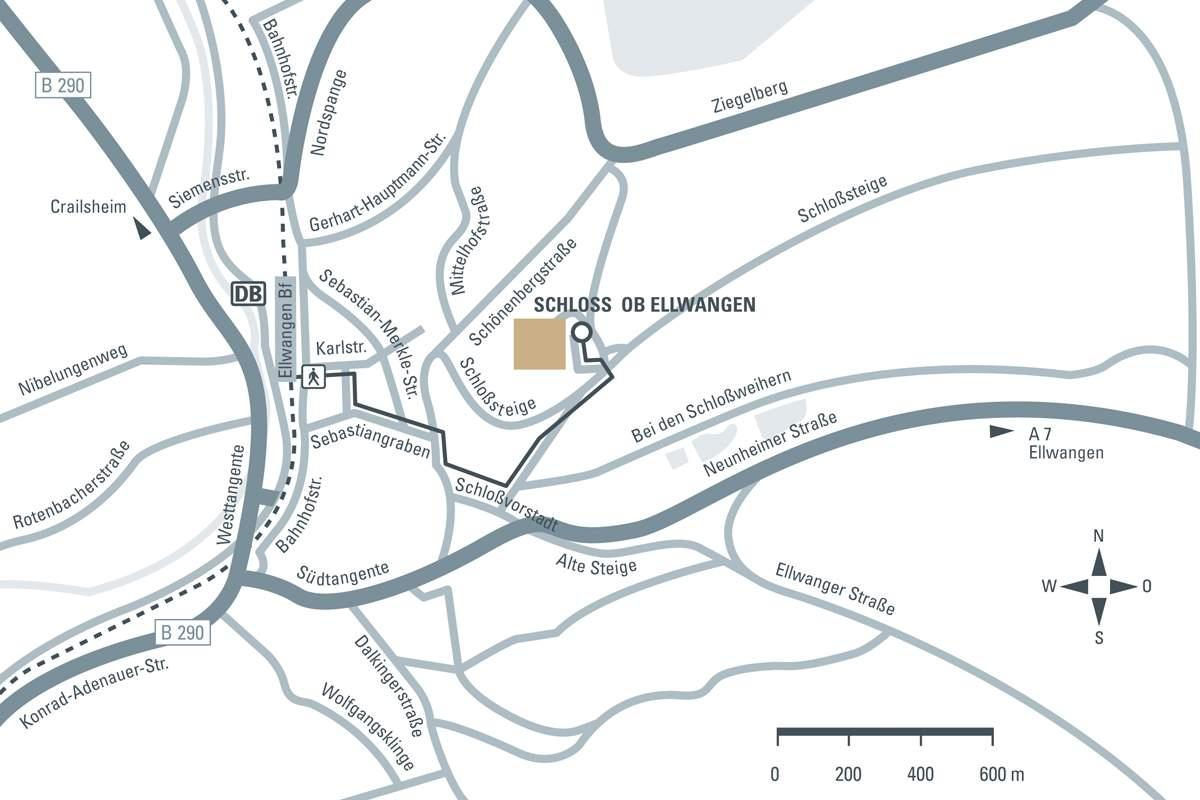 Anfahrtsskizze zum Neuen Schloss Ellwangen; Entwurf: Staatliche Schlösser und Gärten Baden-Württemberg, JUNG:Kommunikation