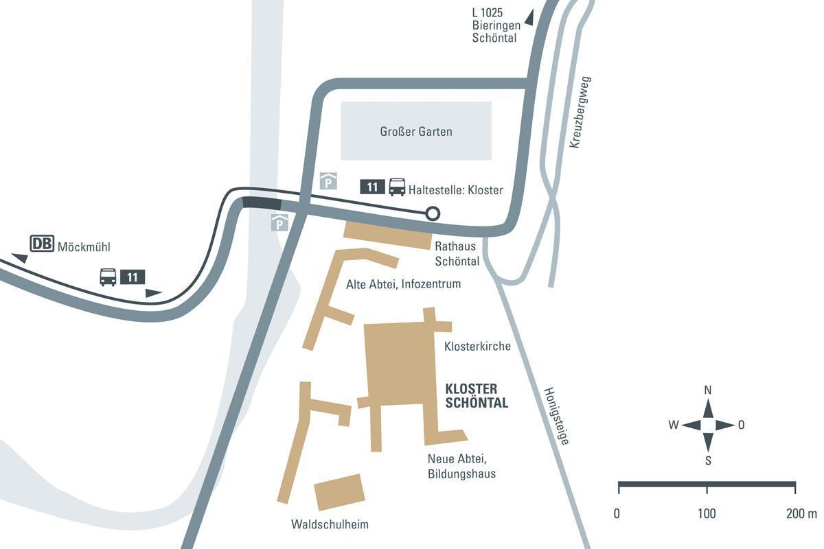 Anfahrtsskizze zum Kloster Schöntal; Entwurf: Staatliche Schlösser und Gärten Baden-Württemberg, JUNG:Kommunikation