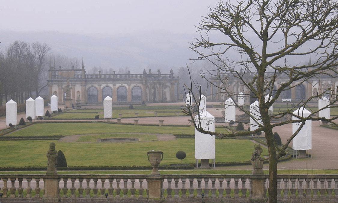Schloss Weikersheim, Schlossgarten im Winter; Foto: Staatliche Schlösser und Gärten Baden-Württemberg, Ortsverwaltung Weikersheim