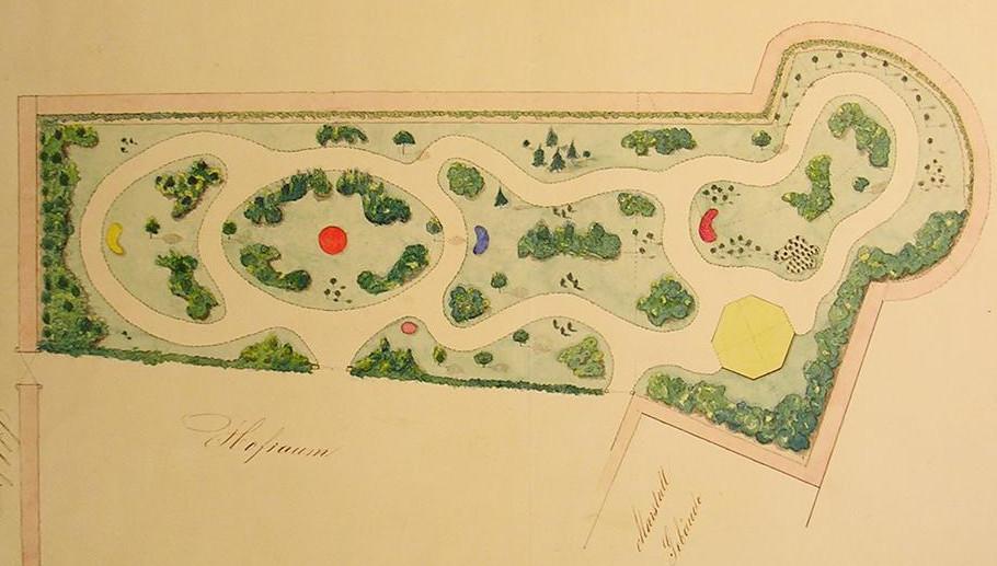 Historischer Plan des Weikersheimer Rosengartens; Foto: Staatliche Schlösser und Gärten Baden-Württemberg, Hartmut Troll