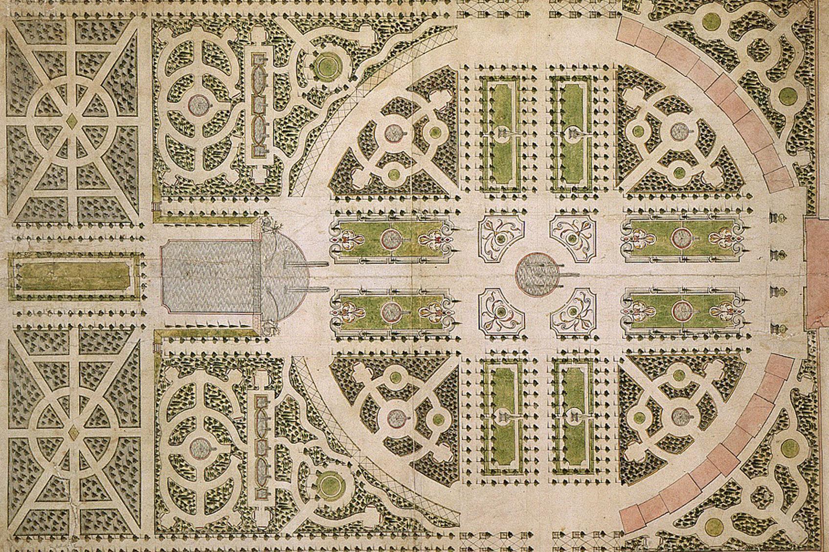 Historische Ansicht des Gartenplans von Hofgärtner Johann Ludwig Petri, 1753;  Foto: Staatliche Schlösser und Gärten Baden-Württemberg, Arnim Weischer