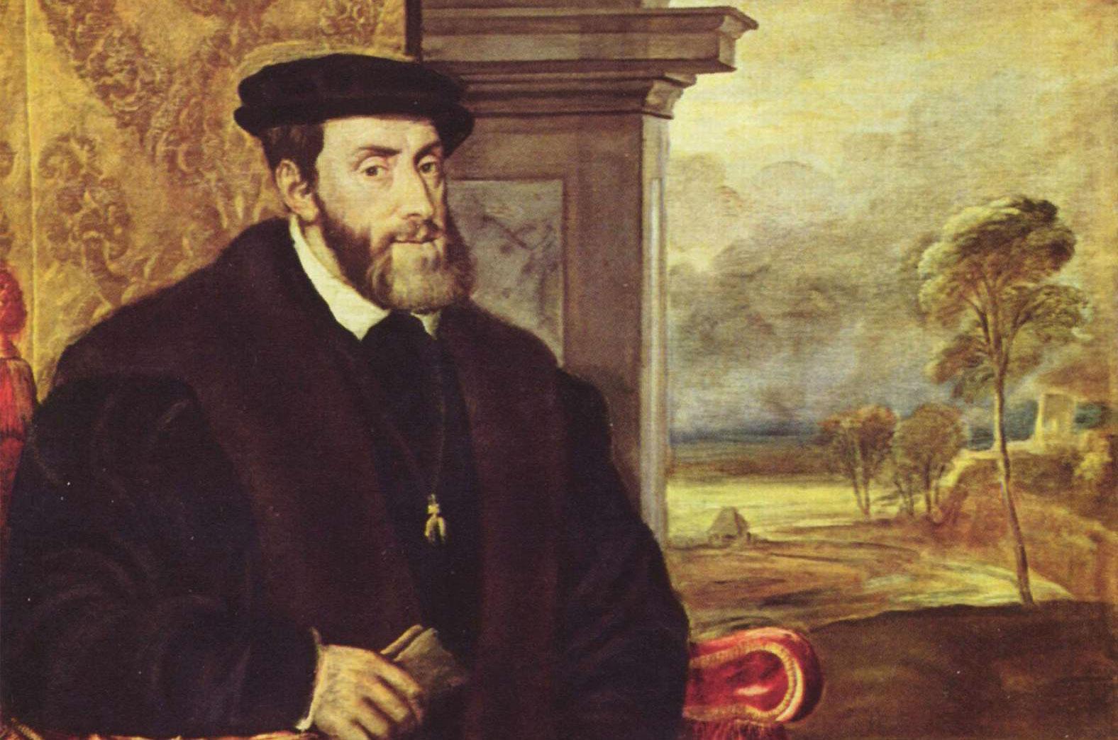 Gemälde von Kaiser Karl V.  von Tizian, wird heute Lambert Sustris zugeschrieben; Foto: Wikipedia, gemeinfrei