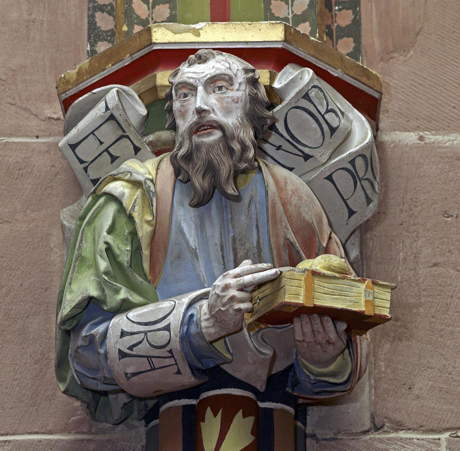 Apostelfigur an einem Kapitell in der Marienkapelle von Kloster Hirsau; Foto: Staatliche Schlösser und Gärten Baden-Württemberg, Andrea Rachele