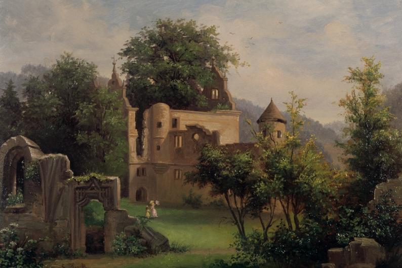 Gemälde von der Ulme in Kloster Hirsau, Sophie Heck, 1886; Foto: Badisches Landesmuseum