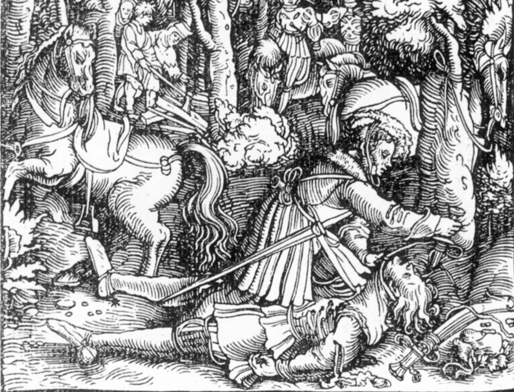 Ulrich von Württemberg ermordet Hans von Hutten, Kupferstich; Foto: Wikipedia, gemeinfrei