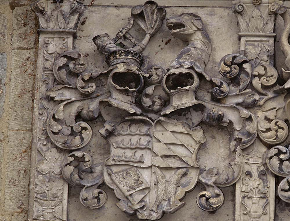 Wappen des Herzogtums Württemberg am Alten Schloss Stuttgart; Foto: Staatliche Schlösser und Gärten Baden-Württemberg, Steffen Hauswirth