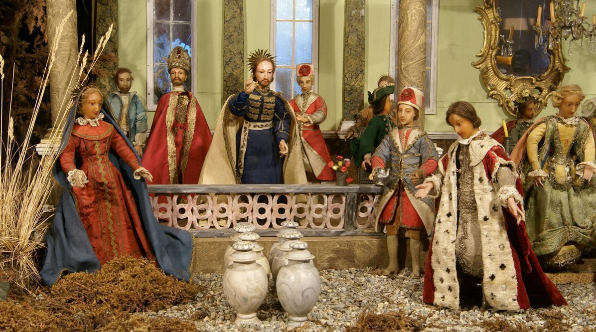 Barockkrippe mit der Darstellung der Hochzeit von Kana im Museum von Schloss ob Ellwangen; Foto: Tourist-Information Ellwangen