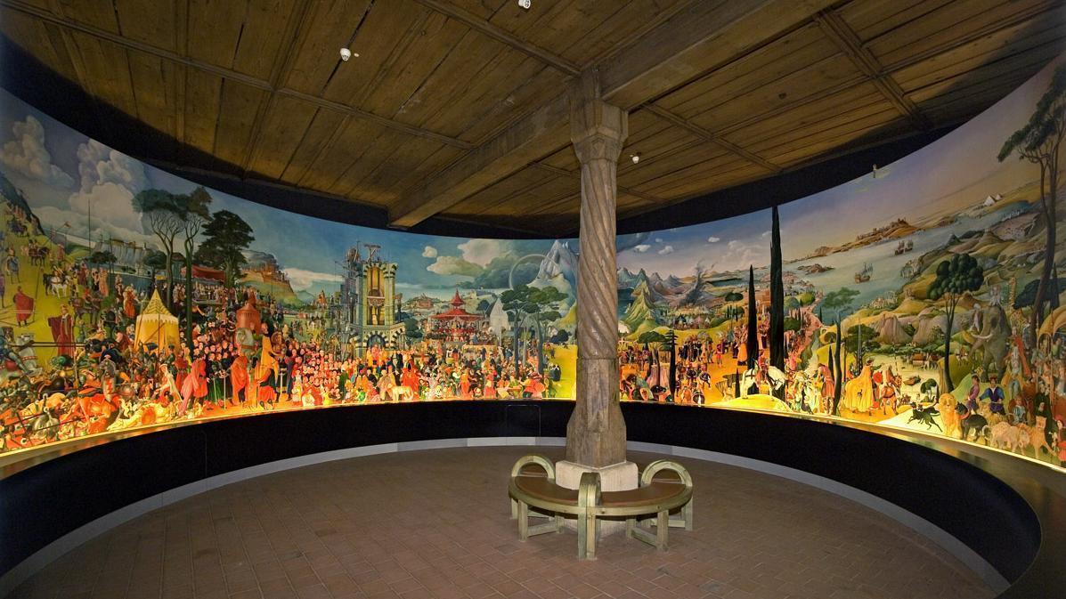 Blick auf das Stauferrundbild im Kapitelsaal von Kloster Lorch; Foto: Touristikbüro Kloster Lorch