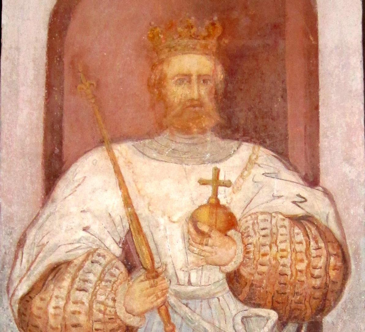 Herzog Friedrich II., Wandbild der Lorcher Klosterkirche; Foto: Ulrich Rund