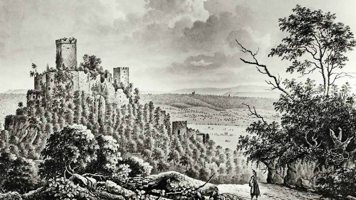 Burg Rötteln, Lithografie nach einer Zeichnung von Maximilian Ring, 1828; Scan: Landesmedienzentrum Baden-Württemberg