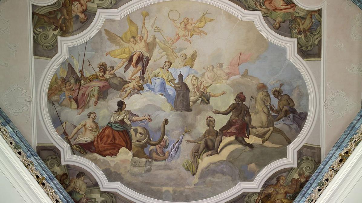 Detailansicht des Freskos im Treppenhaus Kloster Schöntal; Foto: Landesmedienzentrum Baden-Württemberg, Arnim Weischer