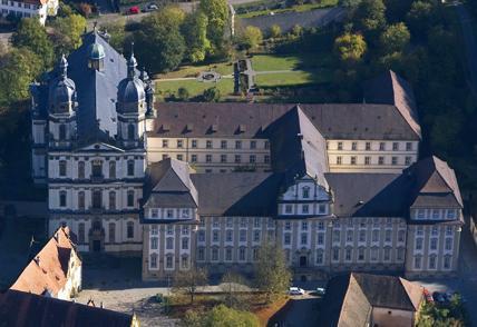 Aerial view of Schöntal Monastery. Image: Staatliche Schlösser und Gärten Baden-Württemberg, Achim Mende