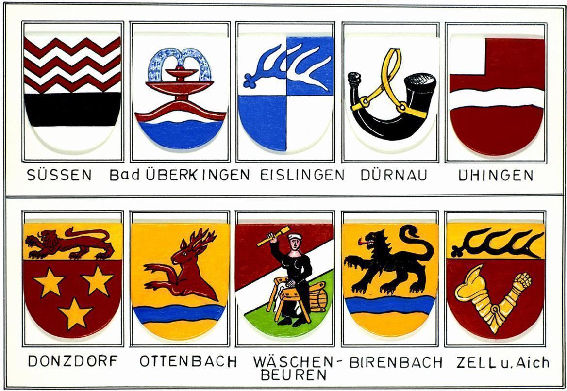Wappen der Städte und Dörfer in der Umgebung von Burg Wäscherschloss; Foto: Landesmedienzentrum Baden-Württemberg