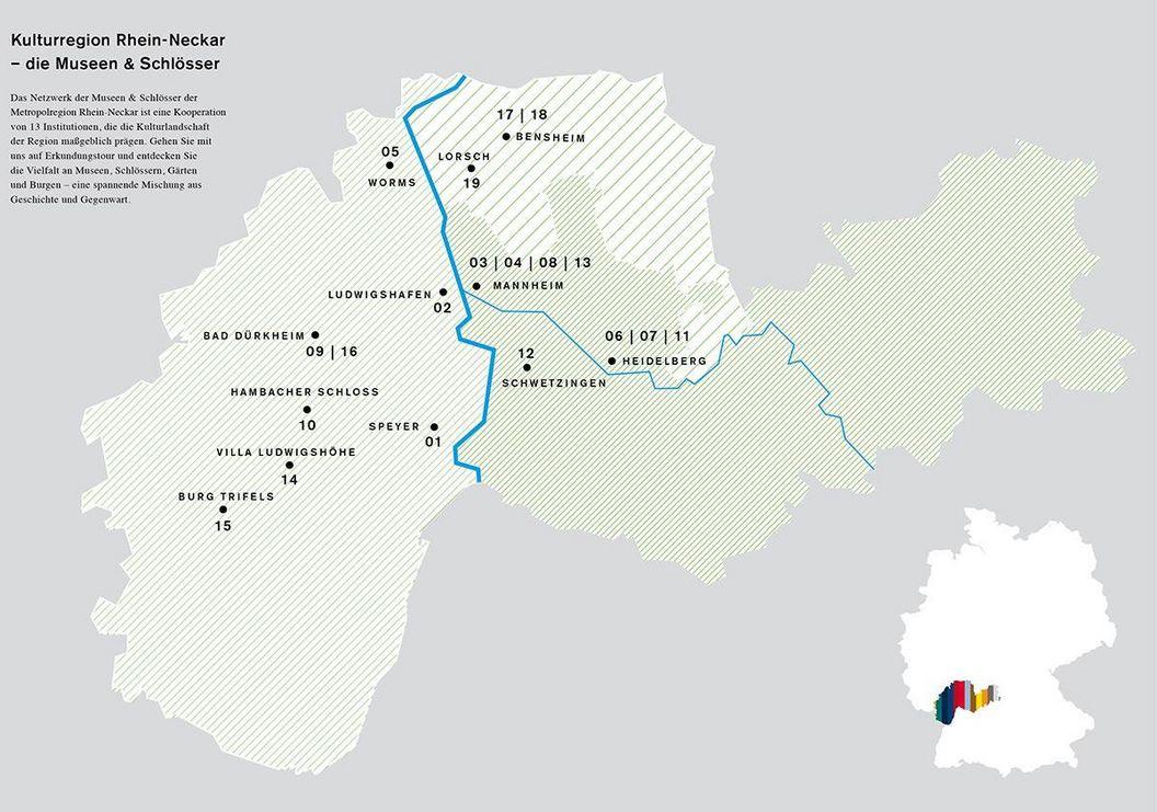 Karte der im Netzwerk vertretenen Häuser; Quelle: Netzwerk Museen und Schlösser in der Metropolregion Rhein-Neckar