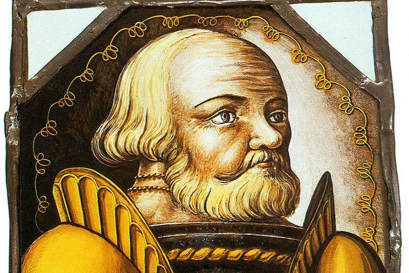 Götz von Berlichingen, Glasmalerei von 1547 im Museum Jagsthausen; Foto: Wikipedia, gemeinfrei