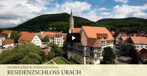 """Startbildschirm des Filmes """"Residenzschloss Urach: Informationen in Gebärdensprache"""""""