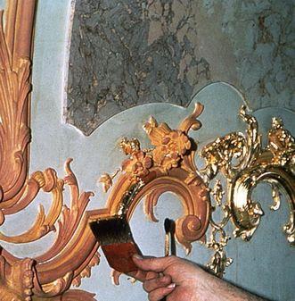 Restaurierungsarbeiten im Schloss Bruchsal; Foto: Staatliche Schlösser und Gärten Baden-Württemberg, Urheber unbekannt