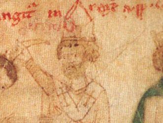 """Calixt II.; Zeichnung aus: """"Liber ad honorem Augusti"""" von Petrus von Ebulo, 1196; Foto: Wikipedia, gemeinfrei"""