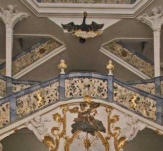 Seashell-shaped ornamentation in the staircase, Schöntal Monastery. Image: Staatliche Schlösser und Gärten Baden-Württemberg, Arnim Weischer
