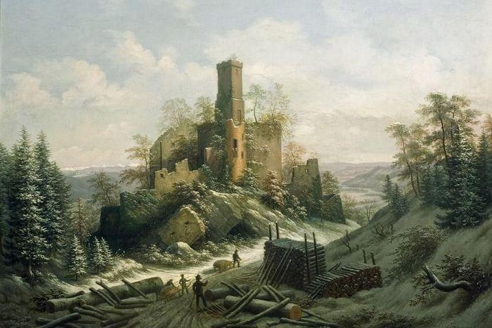 Burg Rötteln, Lithografie von A.Merian, 1828