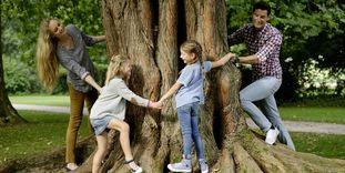 Spielende Familie im Schlossgarten Rastatt