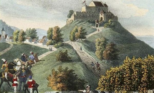 Grabkapelle auf dem Württemberg, Stammschloss - Lithographie um 1840