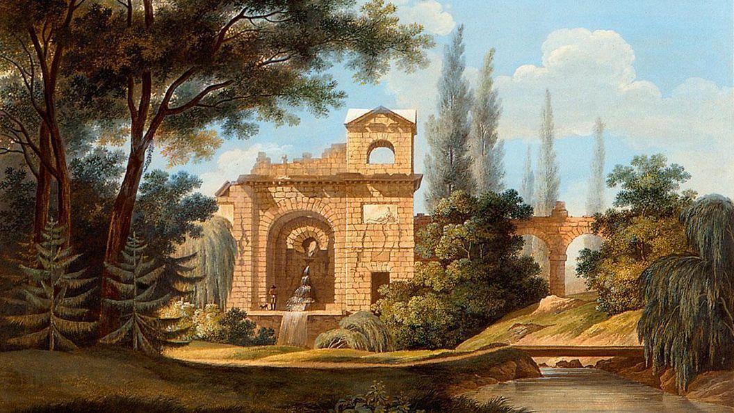 Wasserkastell im Schlossgarten Schwetzingen, Aquatinta von Carl Kuntz, um 1795