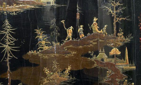 Detailansicht: Lackmalerei, 18. Jahrhundert, Residenzschloss Rastatt