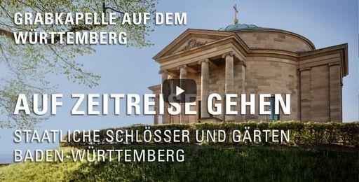 """Startbildschirm des Films """"Auf Zeitreise gehen: Grabkapelle auf dem Württemberg"""""""