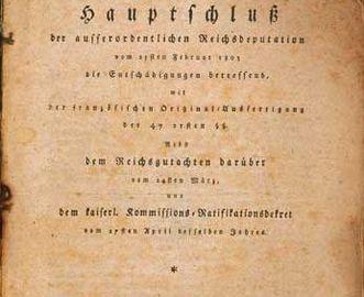 Die Titelseite des Reichsdeputationshauptschlusses