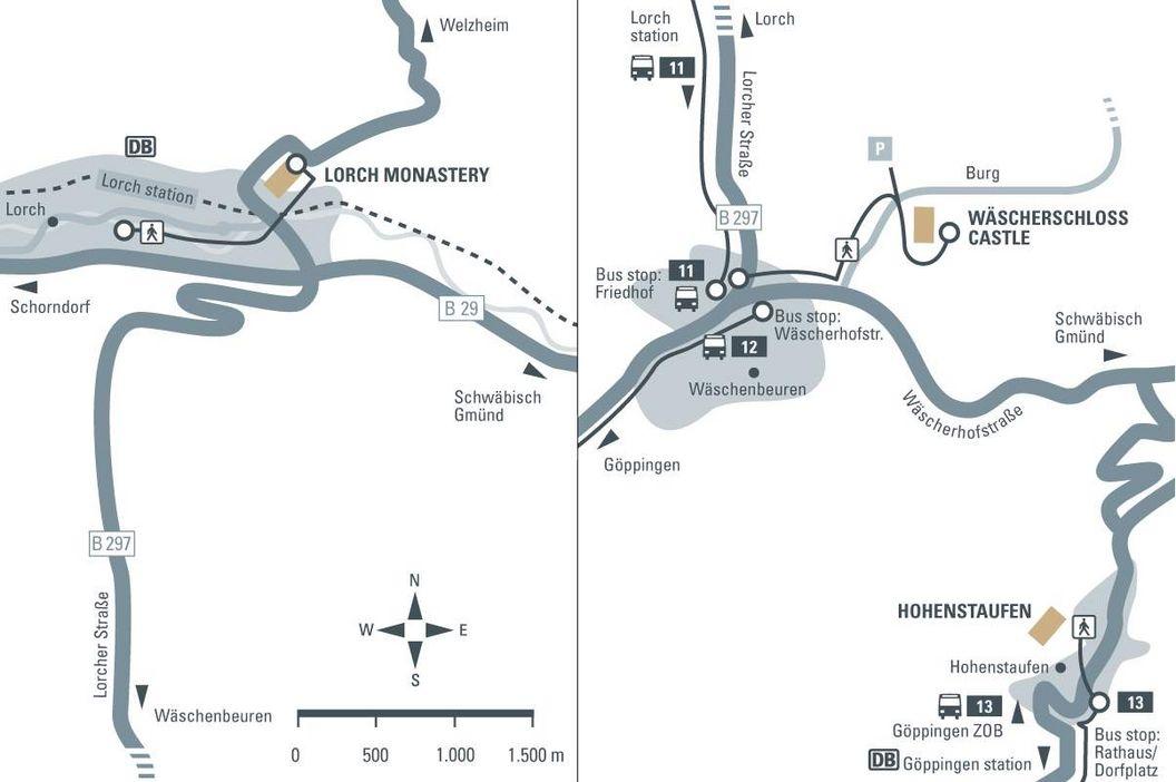 journey description: Hohenstaufen, illustration: Staatliche Schlösser und Gärten Baden-Württemberg, JUNG:Kommunikation