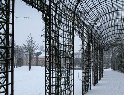 Teillagen im Schnee, Schwetzinger Schlossgarten; Foto: Staatliche Schlösser und Gärten Baden-Württemberg, Ursula Wetzel