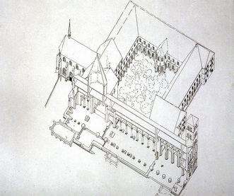 Perspective view of the layout of the convent buildings, the Chapel of St. Mary and the Owl Tower at Hirsau Monastery, 1933. Image: Landesmedienzentrum Baden-Württemberg, Lutz Hecker