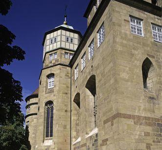 Außenansicht der Schlosskirche im Alten Schloss in Stuttgart; Foto: Staatliche Schlösser und Gärten Baden-Württemberg, Steffen Hauswirth