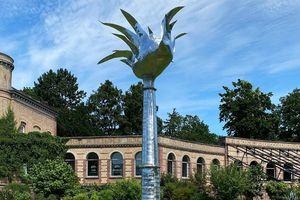 """Botanischer Garten Karlsruhe, Kunstwerk, Gartenausstellung """"Komm wir ernten schnell und pflanzen nochmal neu"""""""