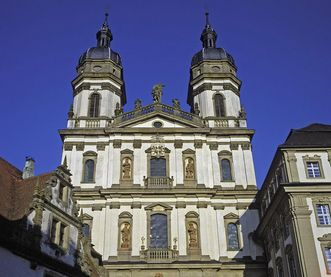 Exterior of the double-towered Baroque church, Schöntal Monastery. Image: Landesmedienzentrum Baden-Württemberg, Sven Grenzemann
