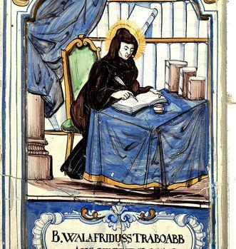 Ofenkachel mit einer malerischen Darstellung Walahfrid Strabos