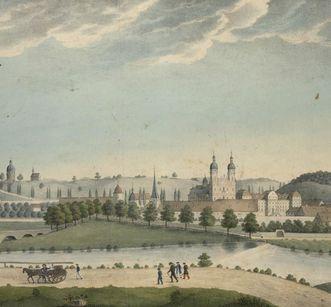 Kloster Schöntal, Ausschnitt aus der Lithografie von Ambros Ganz um 1821; Foto: Württembergische Landesbibliothek, Joachim Siener