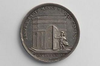 Medaille auf den Frieden von Rastatt (Rückseite), hergestellt von Georg Friedrich Nürnberger 1714