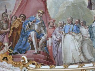 Detail aus dem Deckengemälde im Bibliothekssaal von Kloster Schussenried