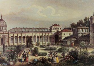 Historische Ansicht der Gebäude des Botanischen Garten Karlsruhe