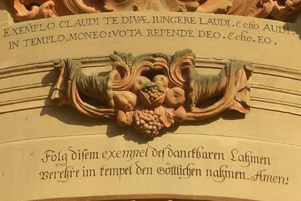 Detail of the entrance to the Schöntal monastery church with a Knittel verse. Image: Schöntal Monastery Educational Center