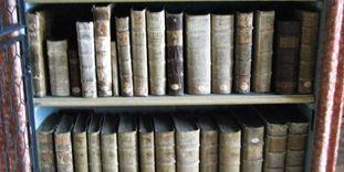 Buchregal im Bibliothekssaal von Kloster Wiblingen