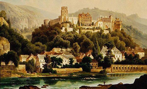 Schloss Heidelberg in einem Gemälde von Hubert Sattler, um 1900