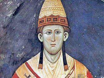 Papst Innozenz III. auf einem Fresko im Kloster San Benedetto