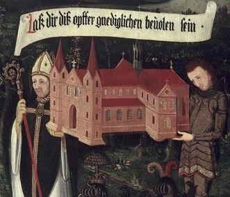 Kloster Maulbronn, rechte Innenseite der Stiftungstafel, Öl auf Holz, um 1450