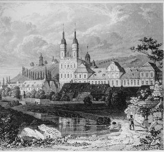 Historic lithograph of Schöntal Monastery. Image: Foto Besserer