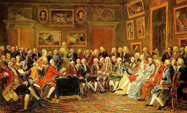 Der literarische Salon von Madame Geoffrin, Anicet Charles Gabriel Lemonnier  (1755)