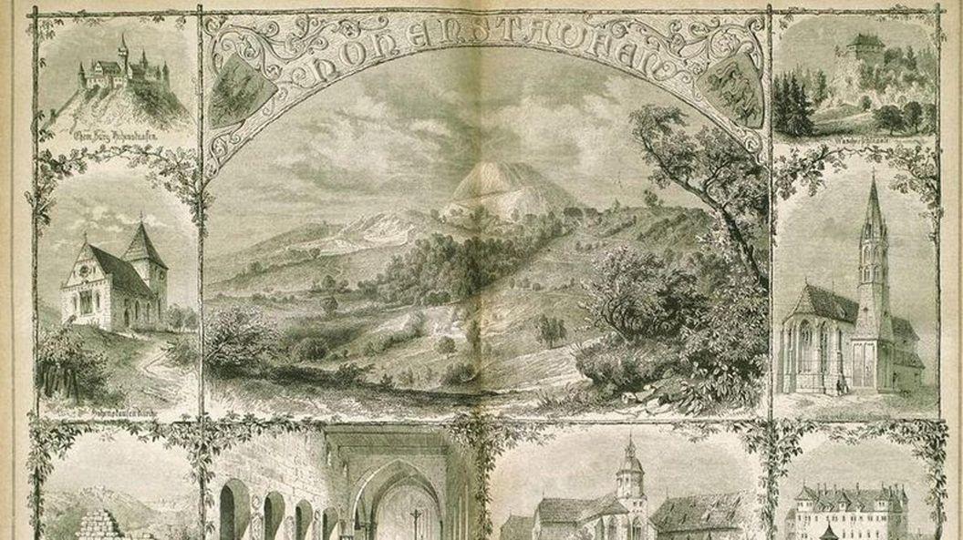"""""""Hohenstaufen und seine Kaisermale"""", Stich aus dem Jahr 1867. Links in der Mitte: Die Barbarossakirche; Foto: Landesmedienzentrum Baden-Württemberg"""
